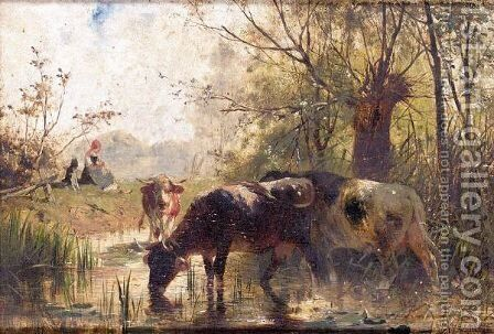 Cattle Watering By A River by Continental School - Reproduction Oil Painting