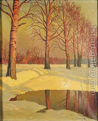 Sunlit Trees by Michael Martinovich Guermacheff - Reproduction Oil Painting