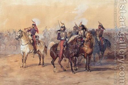 French Imperial Cavalry by (after) Eugene Louis Lami - Reproduction Oil Painting