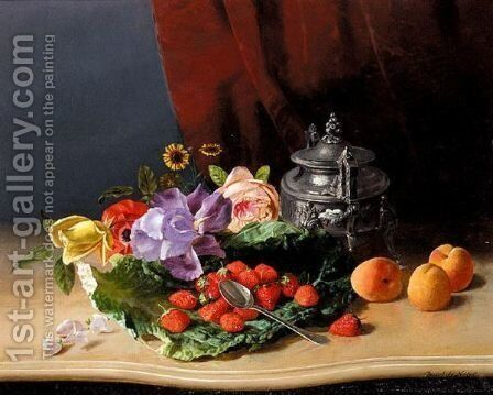 Still Life Of Flowers And Fruit by David Emil Joseph de Noter - Reproduction Oil Painting