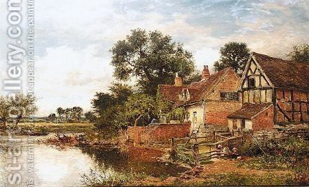 An Old Worcestershire Manor House by Benjamin Williams Leader - Reproduction Oil Painting