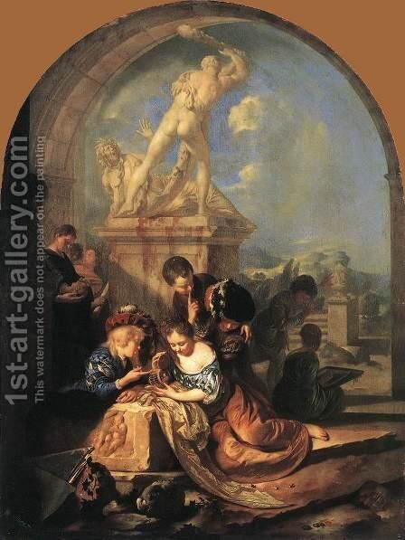 Children Playing before a Hercules Group 1687 by Adriaen Van Der Werff - Reproduction Oil Painting