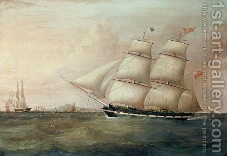 The Brig Rapid Inward Bound For Liverpool Off Point Lynas by (after) Joseph Heard - Reproduction Oil Painting