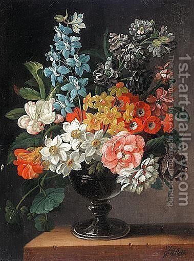 Still Life Of Flowers In A Vase by James Sillett - Reproduction Oil Painting