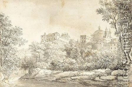 The Chigi Palace And Church At Ariccia by Ellis Cornelia Knight - Reproduction Oil Painting
