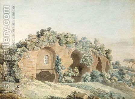 A Figure Sketching Ruins In The Roman Campagna by Ellis Cornelia Knight - Reproduction Oil Painting