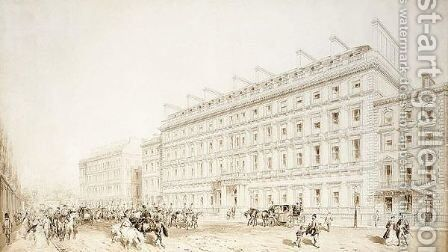 View Of The Palace Hotel, Buckingham Gate, London by James Murray - Reproduction Oil Painting
