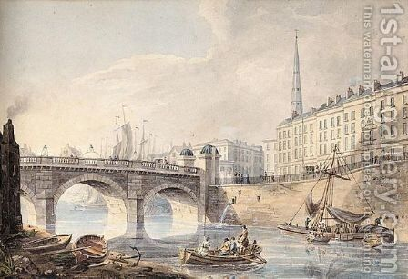 Bristol Bridge And St. Nicholas' Church by John William Hill - Reproduction Oil Painting