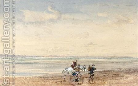 Figures Crossing The Sands by David Cox - Reproduction Oil Painting