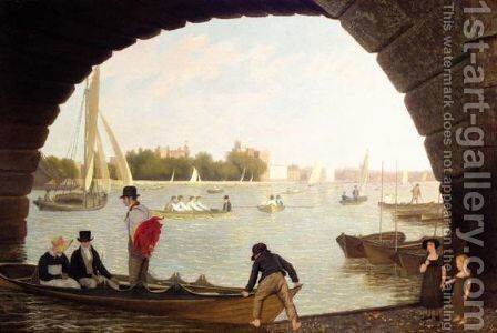 View Of The Thames At Westminster Looking Towards Lambeth by Jacques Laurent Agasse - Reproduction Oil Painting