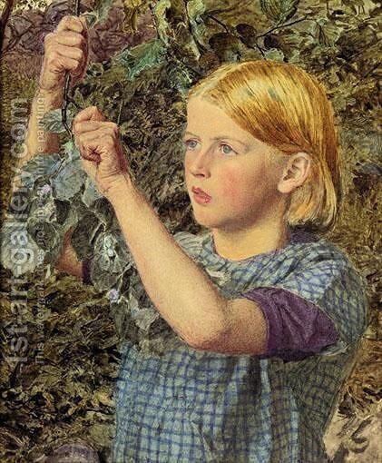 Girl Gathering Nuts by Albert Joseph Moore - Reproduction Oil Painting