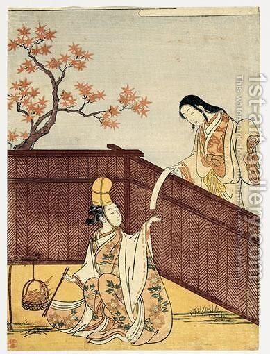 Feuilles D'Erable Brulant by Suzuki Harunobu - Reproduction Oil Painting