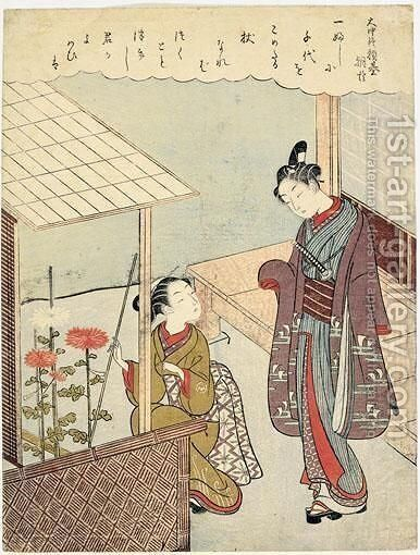 L'Age Des Chrysanthemes by Suzuki Harunobu - Reproduction Oil Painting