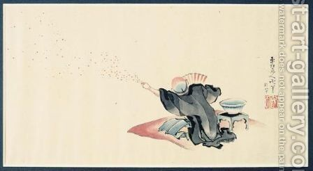 Dessin L'Homme Aux Papillons by Katsushika Hokusai - Reproduction Oil Painting