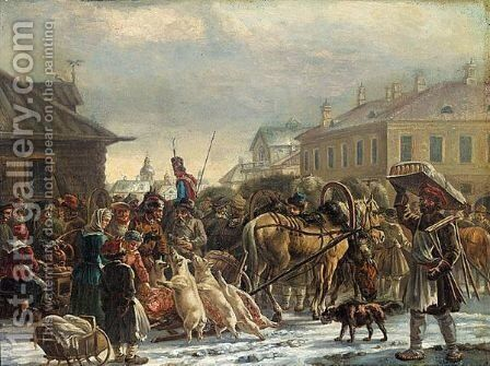 The Hay Market, St. Petersburg, C.1820 by Alexander Ossipovitch Orlovsky - Reproduction Oil Painting