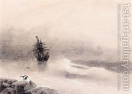 By The Shore In A Stormy Sea by Ivan Konstantinovich Aivazovsky - Reproduction Oil Painting