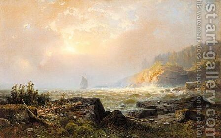 Coastal View With Ship by Alexander Vasilievich Gine - Reproduction Oil Painting