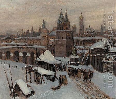 Celebration Near The Kremlin by Apollinari Mikhailovich Vasnetsov - Reproduction Oil Painting