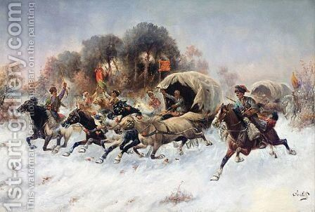 Charging Caucasian Convoy by Adolf Baumgartner-Stoiloff - Reproduction Oil Painting