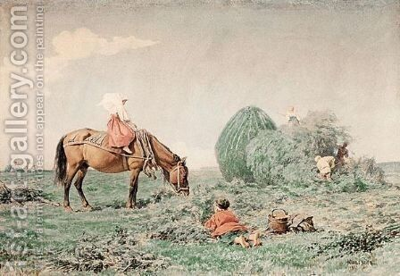 Stacking The Hay by Aleksandr Ivanovich Morozov - Reproduction Oil Painting