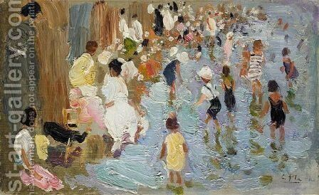 Junto Al Pabellon De Las Arenas, Sobre El Mar, Valencia (The Swimming Lagoon, Valencia Beach) by Cecilio Pla - Reproduction Oil Painting