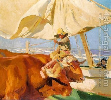 Sol De La Tarde, Playa De Valencia (Evening Sun, Valencia Beach) by Joaquin Sorolla y Bastida - Reproduction Oil Painting