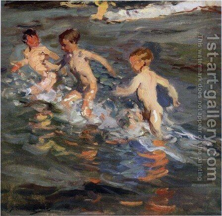 Ninos En La Playa (Children On The Beach) by Joaquin Sorolla y Bastida - Reproduction Oil Painting
