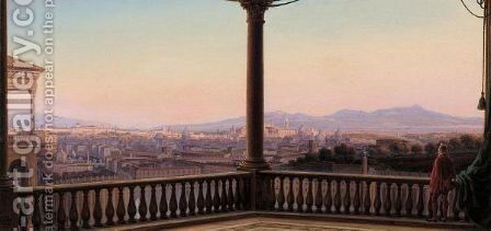 Rom Panorama (Panoramic View Of Rome) by Carl Ludwig Rundt - Reproduction Oil Painting