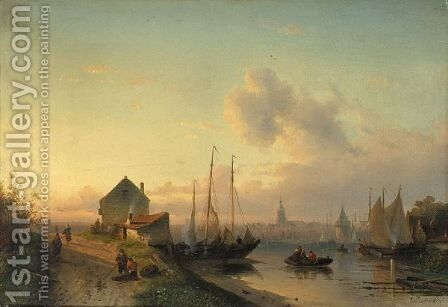 View Of A Town, Evening by Charles Henri Leickert - Reproduction Oil Painting