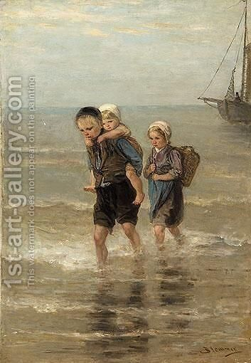 Children At The Beach by Bernardus Johannes Blommers - Reproduction Oil Painting