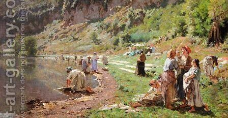 Washerwomen By The Banks Of A River by (after) Carlo Brancaccio - Reproduction Oil Painting