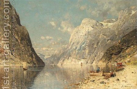 A Norwegian Fjord 3 by Adelsteen Normann - Reproduction Oil Painting