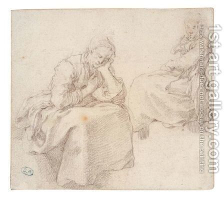 Two Studies Of A Seated Woman by Abraham Bloemaert - Reproduction Oil Painting