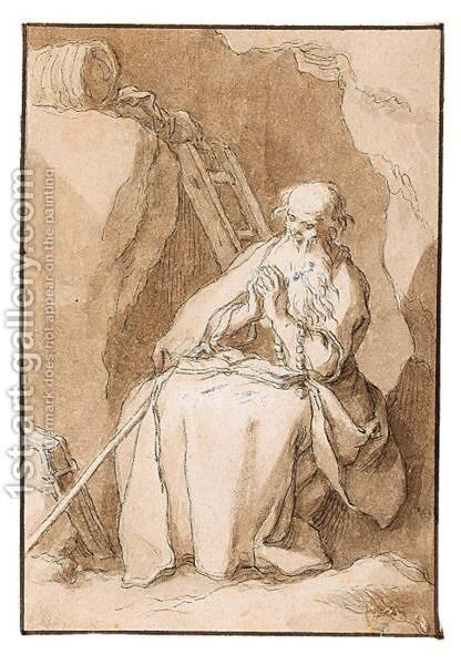 An Anchorite In Meditation by Abraham Bloemaert - Reproduction Oil Painting