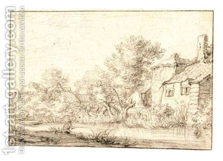 A Fisherman By Cottages On A Wooded Riverbank by (after) Cornelis Gerritsz. Decker - Reproduction Oil Painting