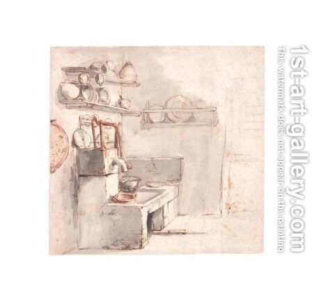 A Corner Of A Kitchen With A Pump And A Sink by Cornelis Dusart - Reproduction Oil Painting