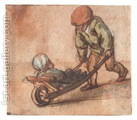 Boy Pushing A Baby In A Wheelbarrow by Isaack Jansz. van Ostade - Reproduction Oil Painting