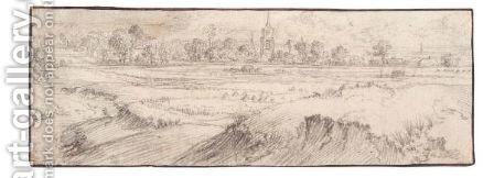 Panoramic Landscape With A Church Among Distant Trees by Haarlem School - Reproduction Oil Painting