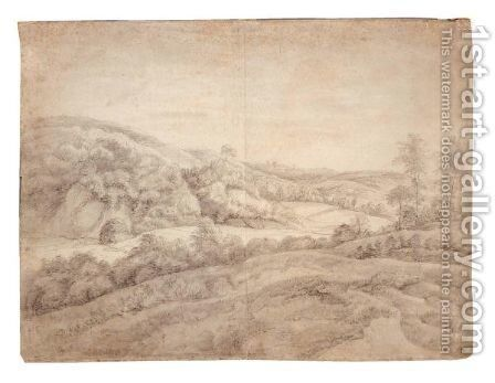 Hilly Landscape by Anthonie Waterloo - Reproduction Oil Painting