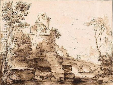 Italianate Landscape With Ruins, And Figures On A Bridge by Adriaen Van Der Kabel - Reproduction Oil Painting