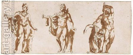 Two Studies Of The Apollo Belvedere, And One Of The Gaul And His Wife by Jan de Bisschop - Reproduction Oil Painting