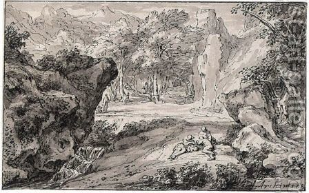 Rocky Italianate Landscape With Figures Resting By A Stream by Abraham Genoels - Reproduction Oil Painting