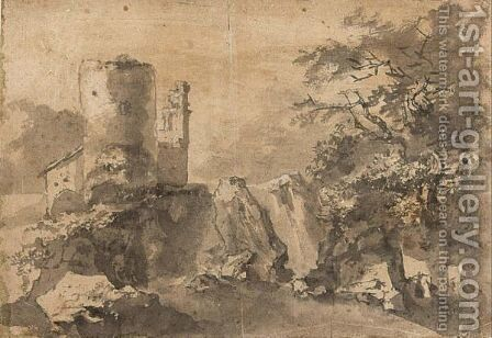 Italianate Landscape With A Ruined Tower Near Rocks by (after) Adam Pynacker - Reproduction Oil Painting