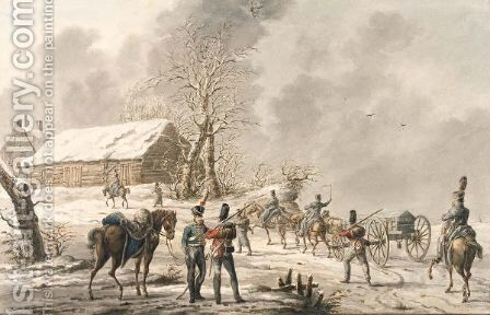 Winter Scene, With Soldiers And A Gun-Carriage Approaching A Farm by Jan Anthonie Langendijk - Reproduction Oil Painting