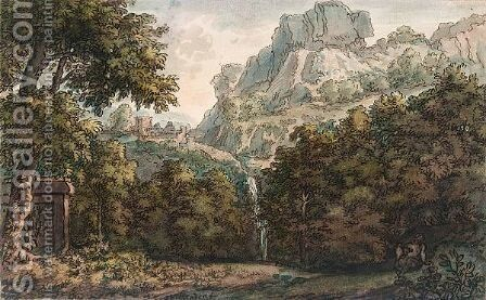 A Mountainous Wooded Landscape With A Waterfall, A Seated Figure And A Tomb by Jacob Van Liender - Reproduction Oil Painting