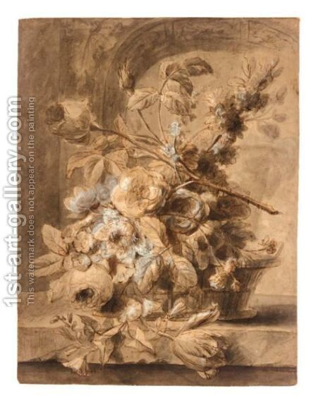 A Basket Of Flowers On A Ledge by (after) Huysum, Jan van - Reproduction Oil Painting