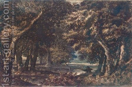 Wooded Landscape With A Hunter Shooting Duck by Jacob Van Liender - Reproduction Oil Painting