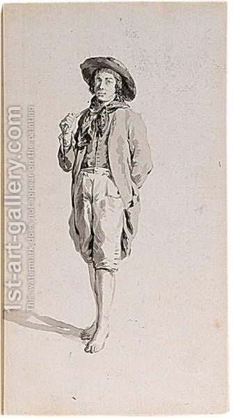 Study Of A Bare-Footed Youth In A Hat by (after) Jacob Van Strij - Reproduction Oil Painting