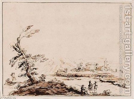 Landscape With Figures By A Tree, And Distant Buildings by (after) Giovanni Francesco Guercino (BARBIERI) - Reproduction Oil Painting