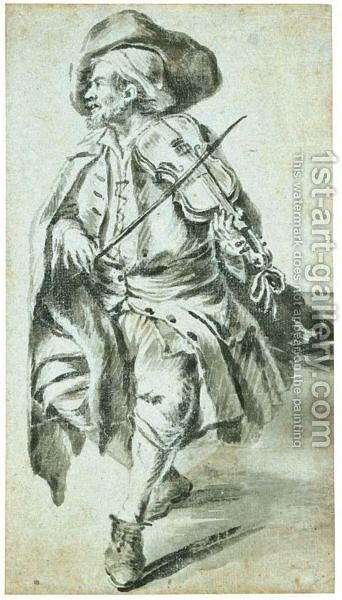 A Seated Fiddler by Dutch School - Reproduction Oil Painting